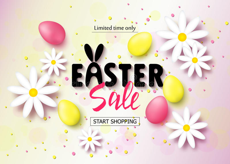 Easter sale banner background template with beautiful colorful spring flowers and eggs. Vector illustration. vector illustration