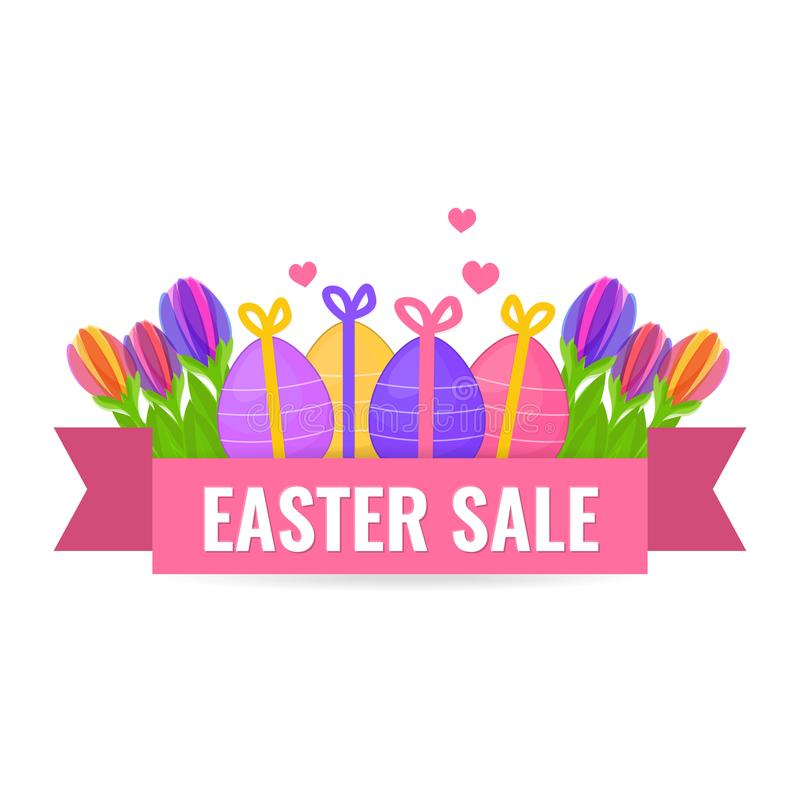 Easter sale banner with beautiful spring flower and eggs. royalty free illustration
