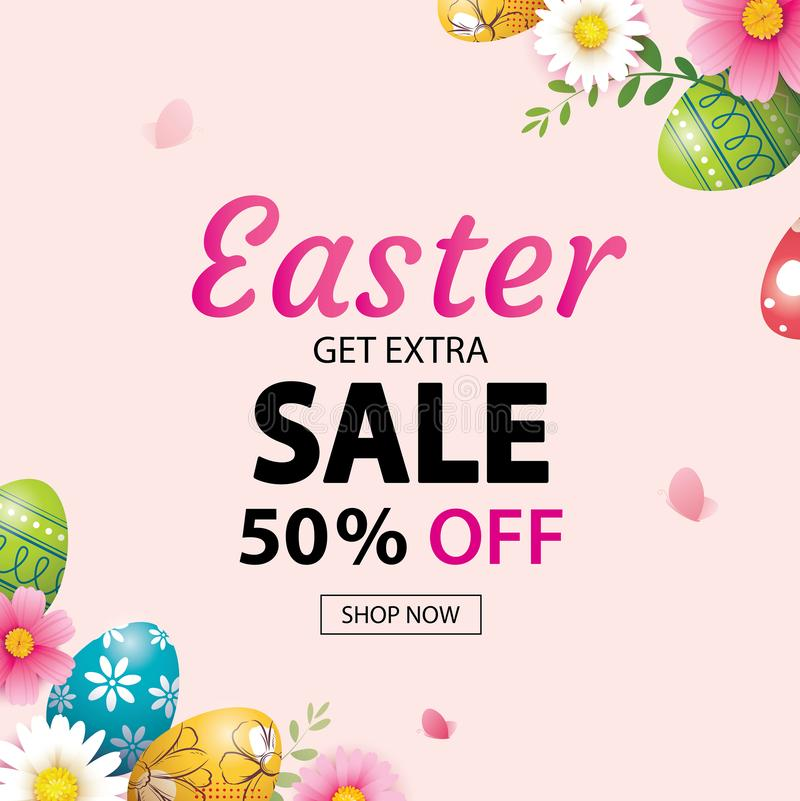 Easter sale banner design template with colorful eggs and flowers. Use for advertising, flyers, posters, brochure, voucher royalty free illustration