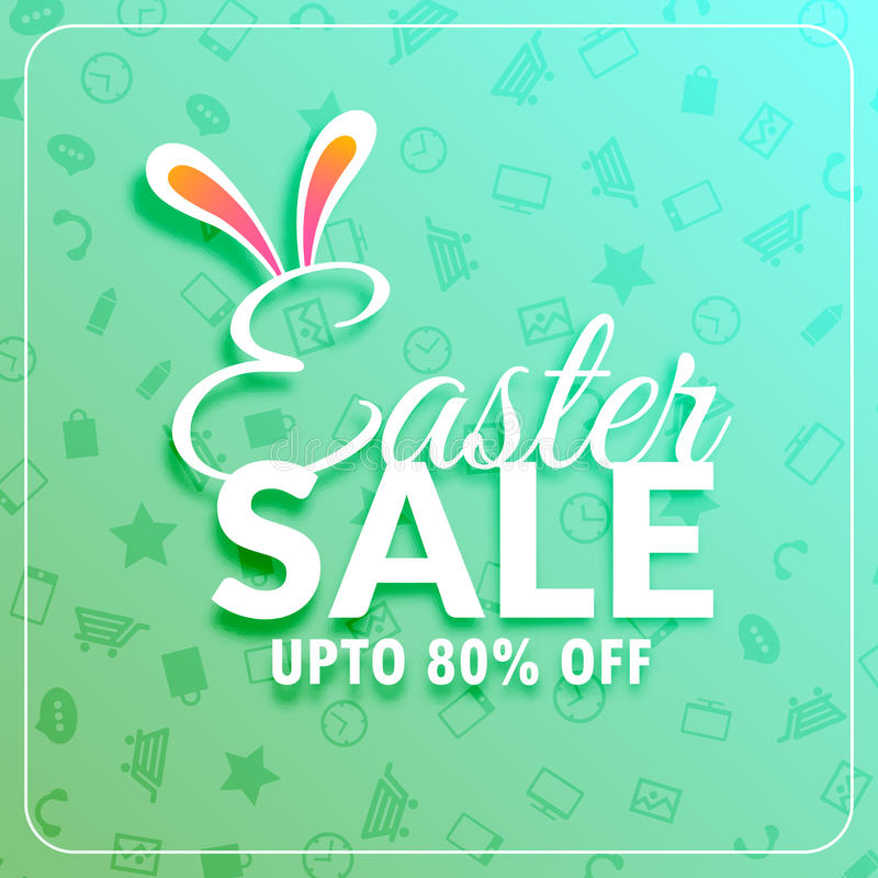 Easter sale banner template with bunny ears stock illustration