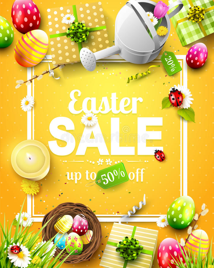 Easter sale flyer vector illustration