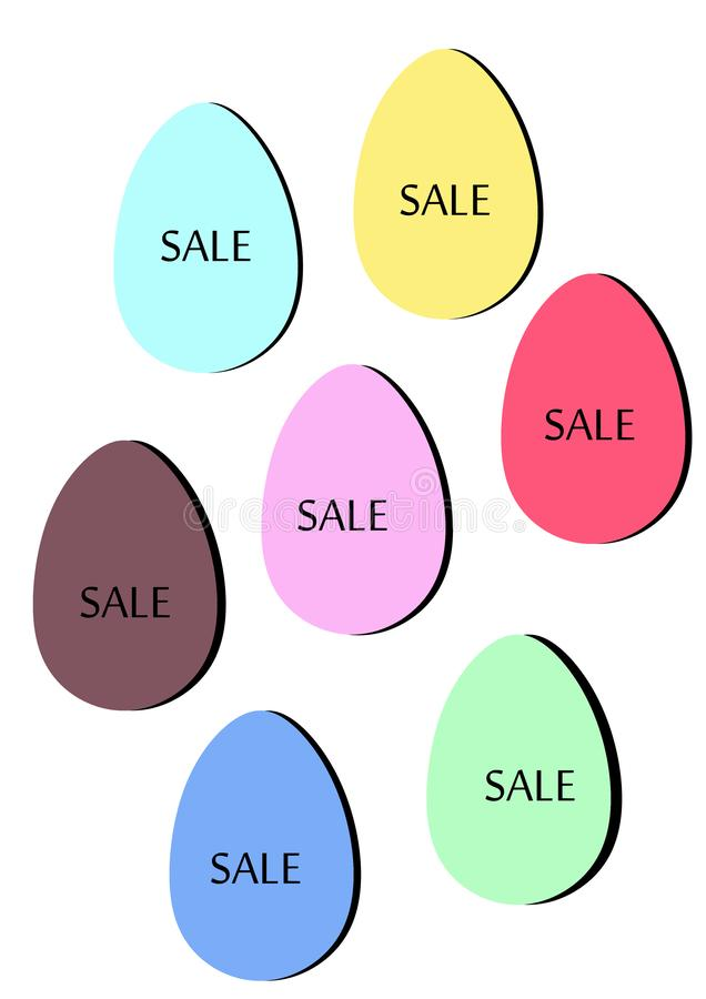 Easter sale. illustration of colorful eggs on white background isolate. Text and letters on eggs royalty free illustration