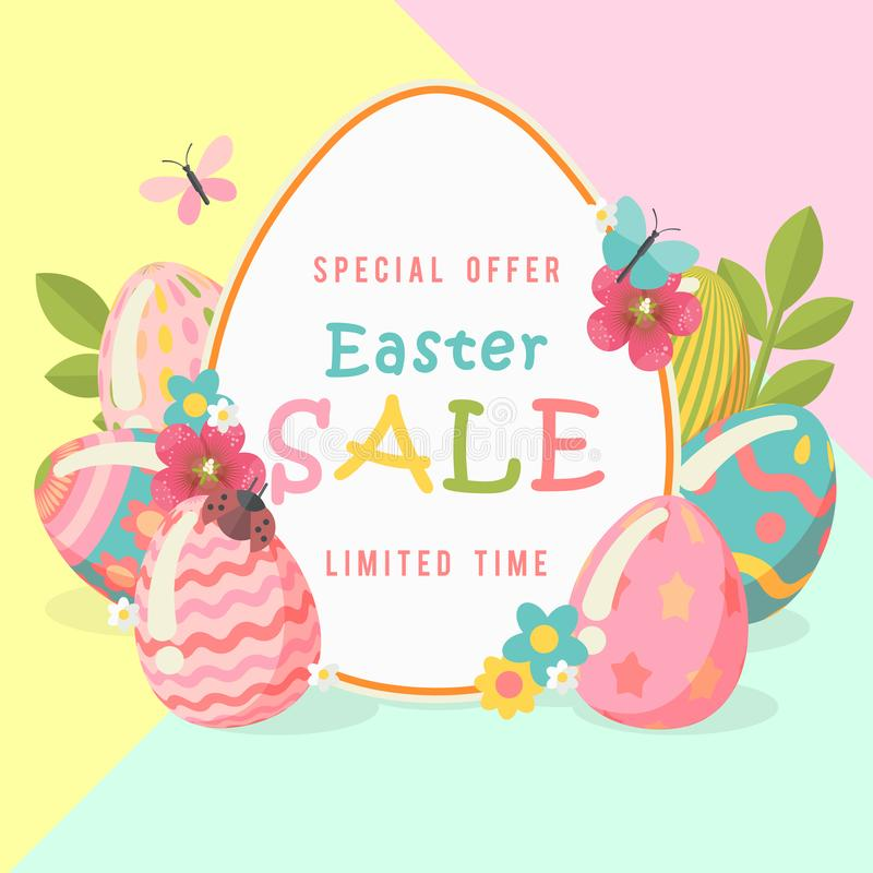 Free Easter Sale Special Offer Template With Eggs And Spring Flowers. Modern Template With Pastel Colors. Stock Photo - 112318230