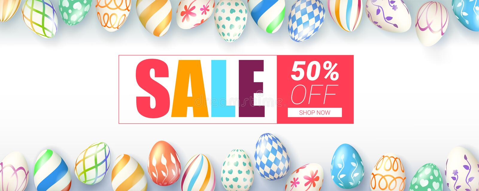 Easter sale, springtime special offer. Ad banner decorated collection of hand painted easter eggs on white background stock illustration
