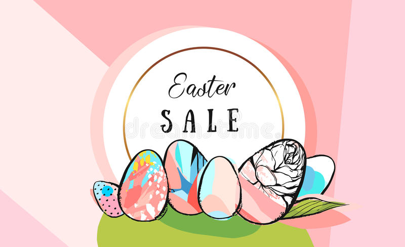 Easter sale tulips eggs and text EPS 10 vector royalty free stock illustration for greeting card, ad, promotion, poster royalty free illustration