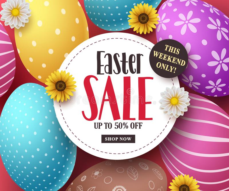 Easter sale vector banner with colorful easter eggs, flowers and sale text royalty free illustration