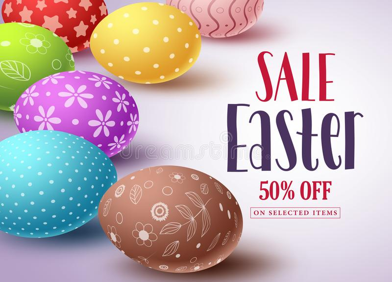 Easter sale vector banner design and template with colorful eggs royalty free illustration