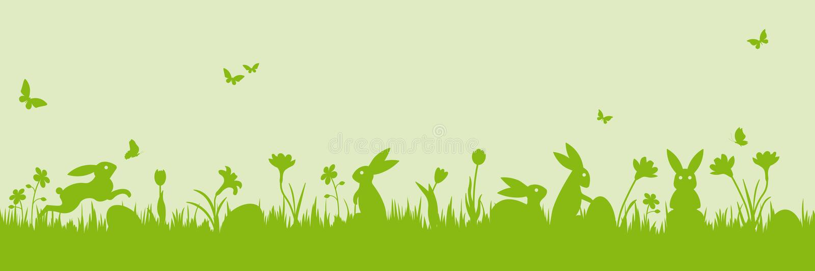 Easter scene banner vector illustration. Easter banner. Vector illustration with easter bunnies, flowers, butterflies and eggs on a meadow vector illustration