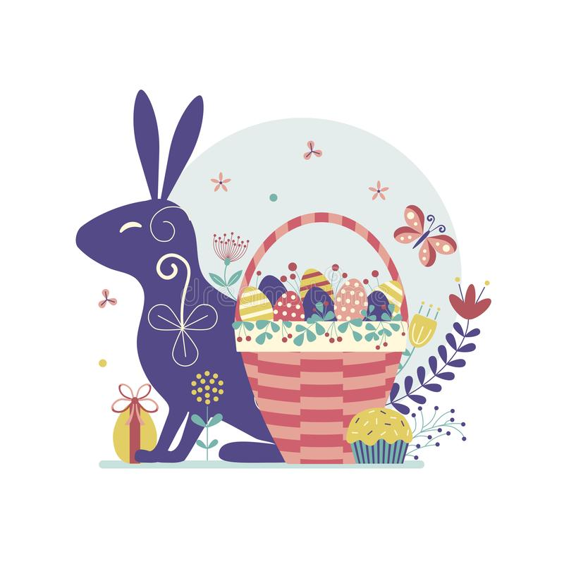 Easter Scene with Bunny and Basket royalty free illustration