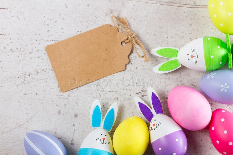 Easter scene with colored eggs royalty free stock photo