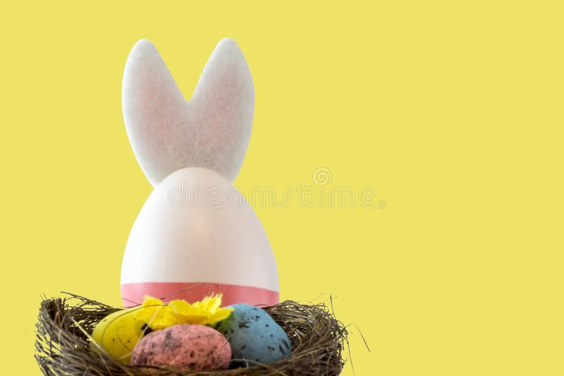Easter scene with colored eggs, easter bunny,, yellow background stock image