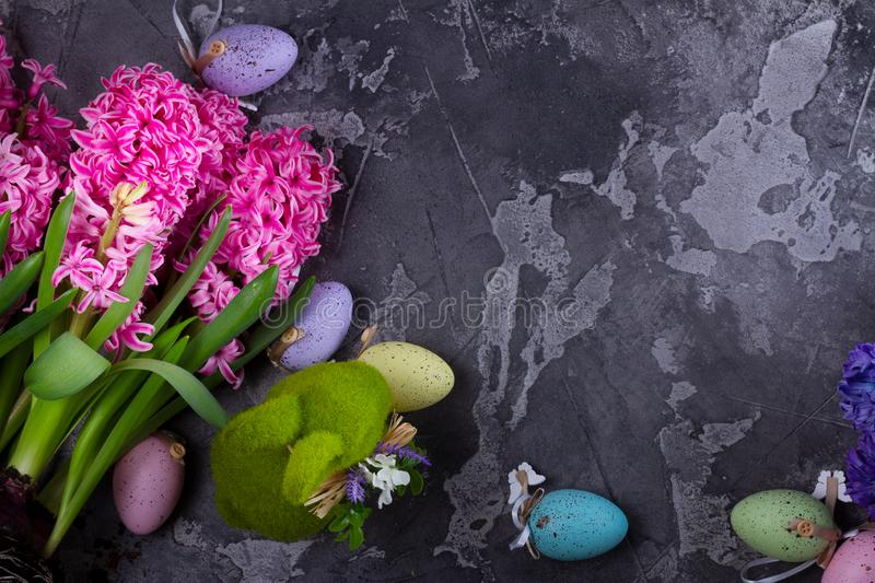 Easter scene with colored eggs stock image