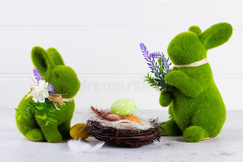 Easter scene with colored eggs stock photography