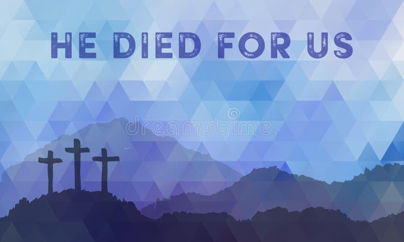 Easter scene with cross. Jesus Christ. Polygonal vector design. stock illustration