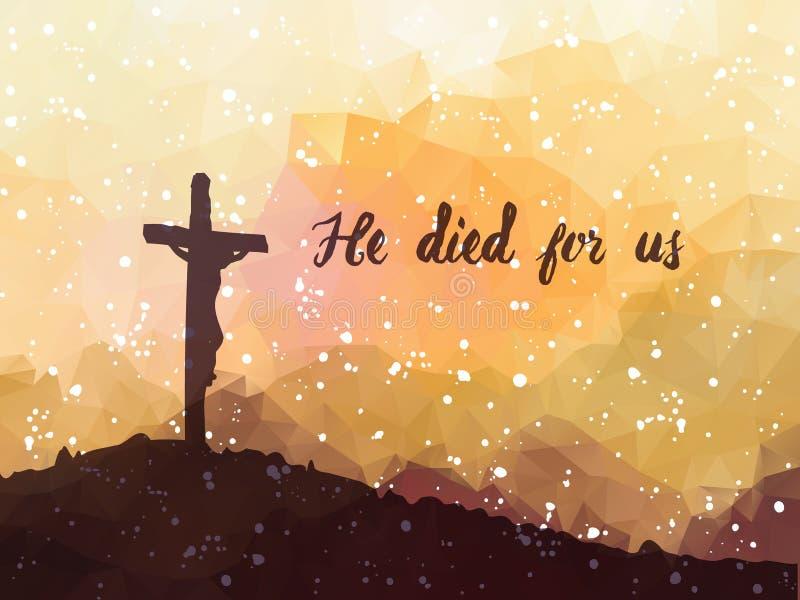 Easter scene with cross. Jesus Christ. Watercolor vector illustr vector illustration