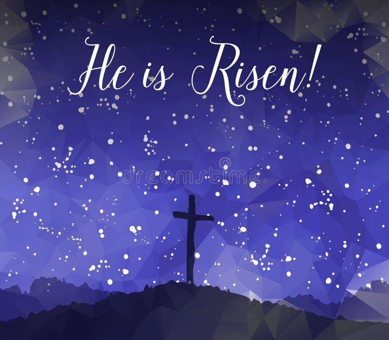Easter scene with cross. Jesus Christ. Watercolor vector illustr royalty free illustration