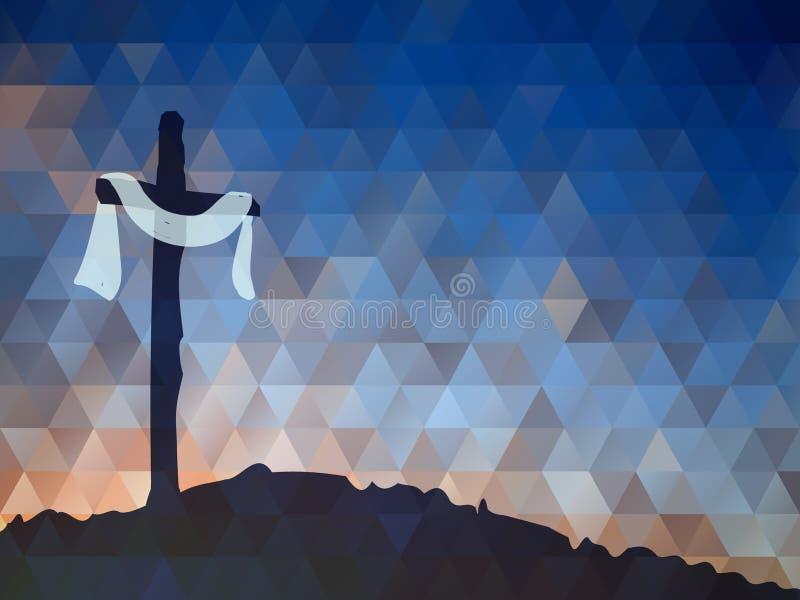 Easter scene with cross. Jesus Christ. Watercolor vector illustr. Watercolor vector illustration. Hand drawn Easter scene with cross. Jesus Christ. Crucifixion