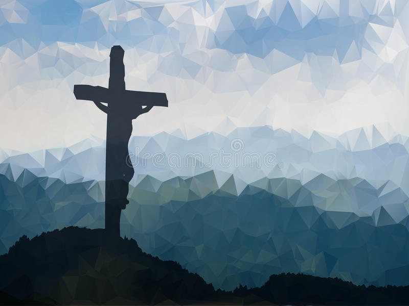 Easter scene with cross. Jesus Christ. Watercolor vector illustr stock illustration