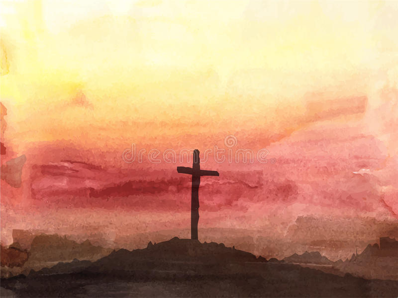 Easter scene with cross. Jesus Christ. Watercolor vector illustration royalty free illustration