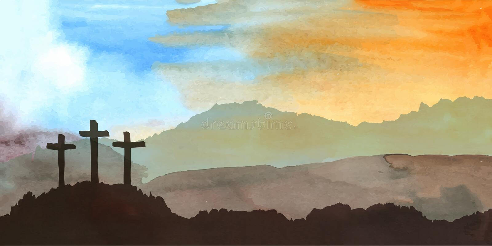 Easter scene with cross. Jesus Christ. Watercolor vector illustration. Watercolor vector illustration. Hand drawn Easter scene with cross. Jesus Christ