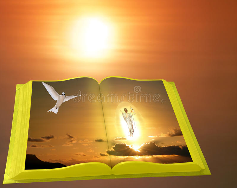 Download Easter Scene Of Gold Bible On Sunrise. Stock Image - Image of bright, mankind: 28252531