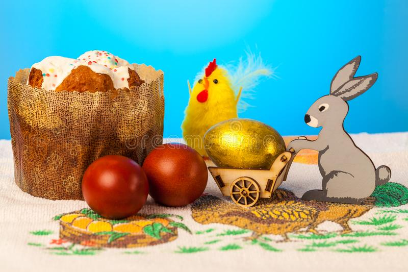 Easter scene with the Golden egg royalty free stock images