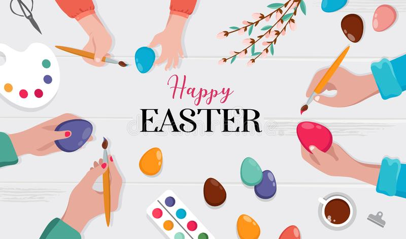 Easter scene - happy family preparing for Easter. Mother, father and daughters are painting eggs. Vector illustration vector illustration