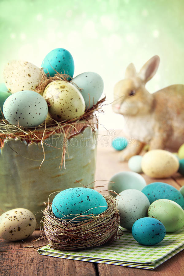 Download Easter Scene With Speckled Eggs In Bowl Stock Photo - Image: 29683890