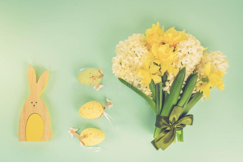 Easter scene with colored eggs stock photos