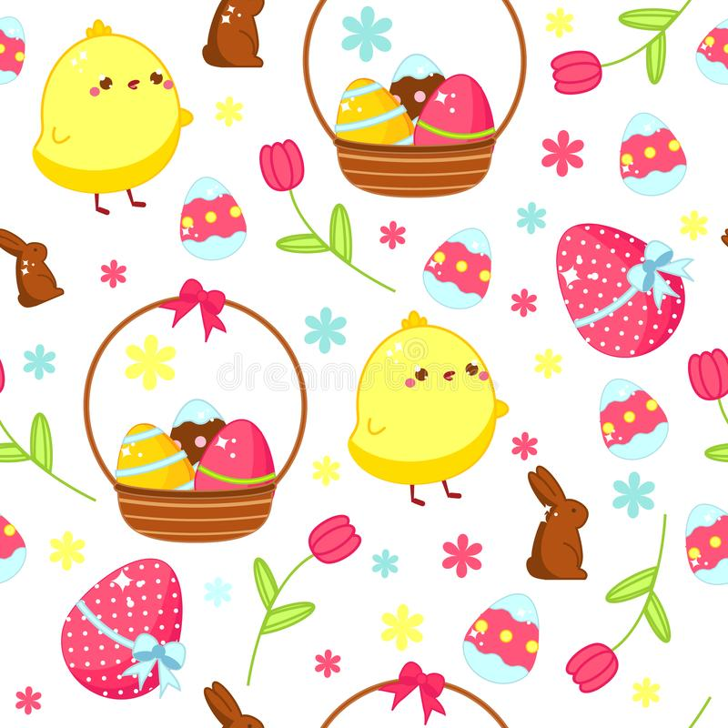 Easter seamless pattern. Background with easter kawaii chicken and eggs in cartoon style vector illustration
