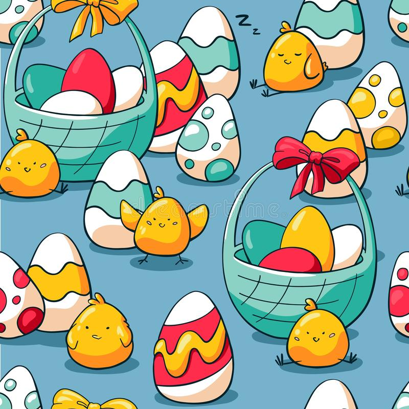 Easter seamless pattern with baskets, chicken and easter eggs. Holiday background for wrapping paper, fabric. Hand drawn vector illustration
