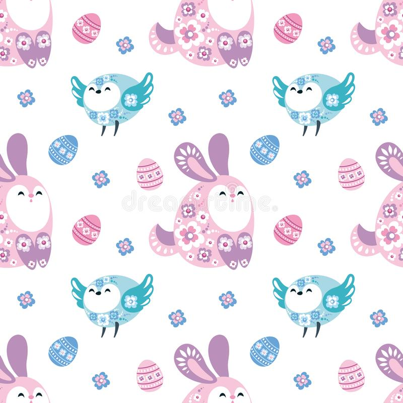 Easter seamless pattern with birds and rabbits stock illustration