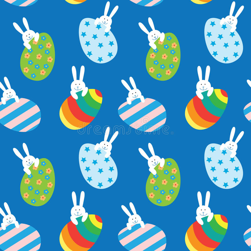 Easter seamless pattern with bunnies and eggs stock illustration