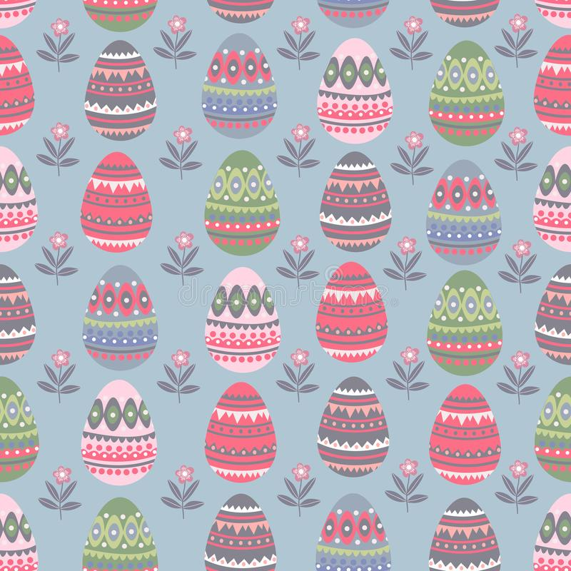 Easter seamless pattern with cartoon flat cute eggs and doodle flowers. Endless ornament for holiday design. Vector stock illustration