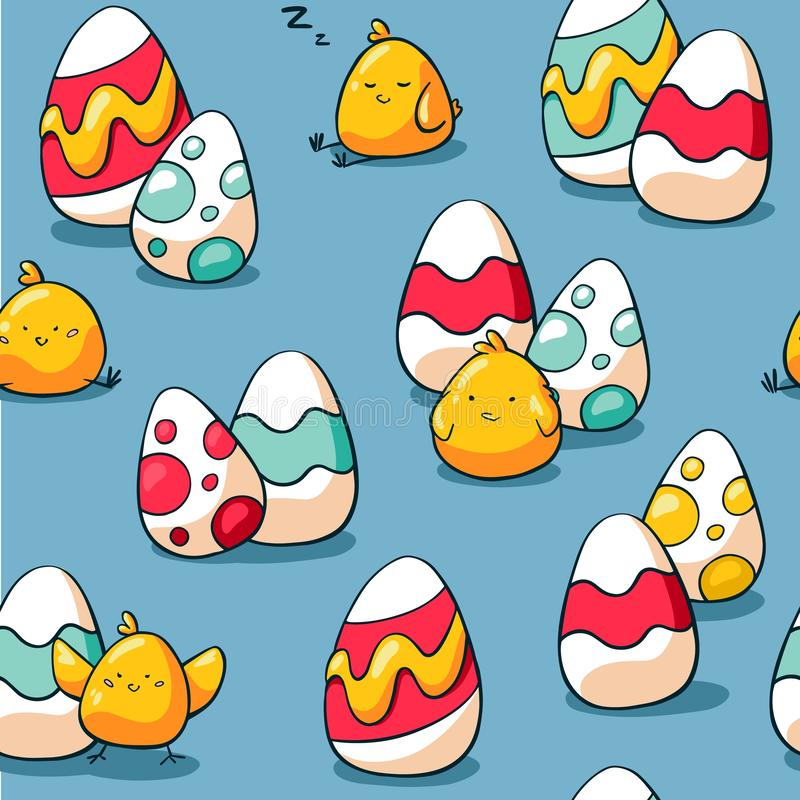 Easter seamless pattern with chicken and easter eggs. Holiday background for wrapping paper, fabric. Hand drawn doodle royalty free illustration