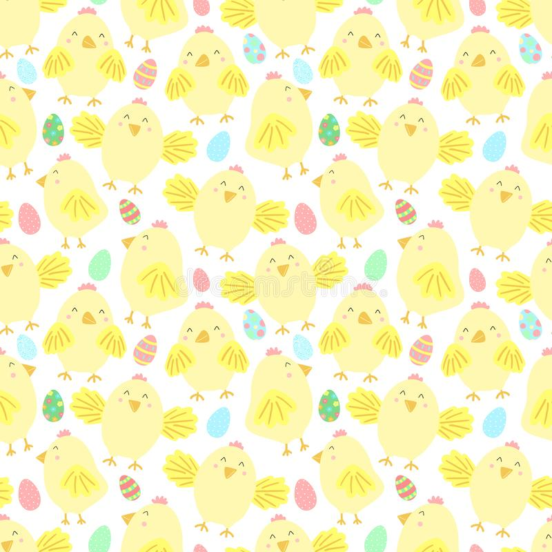 Easter seamless pattern with cute chicks and eggs on a transparent background. Vector hand-drawn illustration of chicken for sprin vector illustration