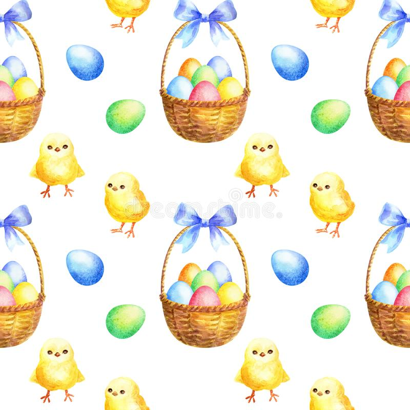 Easter seamless pattern with hand drawn cute chickens royalty free illustration