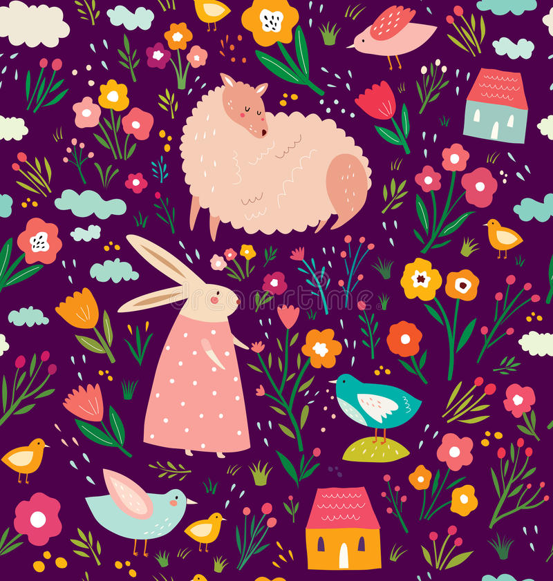 Easter seamless pattern royalty free illustration