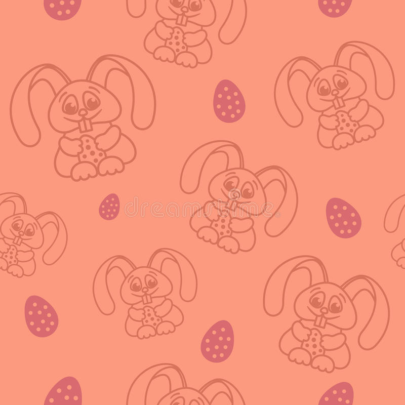 Easter seamless pattern rabbits holding eggs pink stock illustration
