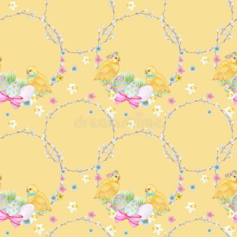 Seamless Easter pattern Watercolor hand drawn of yellow chiken, Spring flowers, willow, bow, egg. Colorful bird, chikens royalty free stock photos