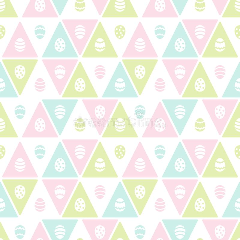 Easter seamless vector pattern with painted eggs and triangles vector illustration
