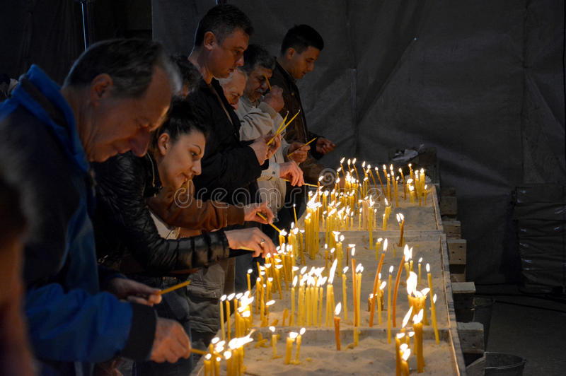 Easter service in Orthodox Cathedral of Saint Sava in Belgrade royalty free stock photography