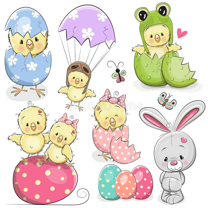 Easter set with cute Chicken royalty free illustration