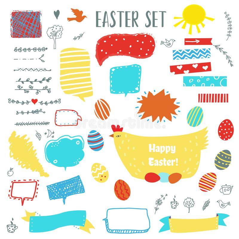 Easter set with eggs, chicken, frames, labels and floral elements for design. Vector illustration stock illustration
