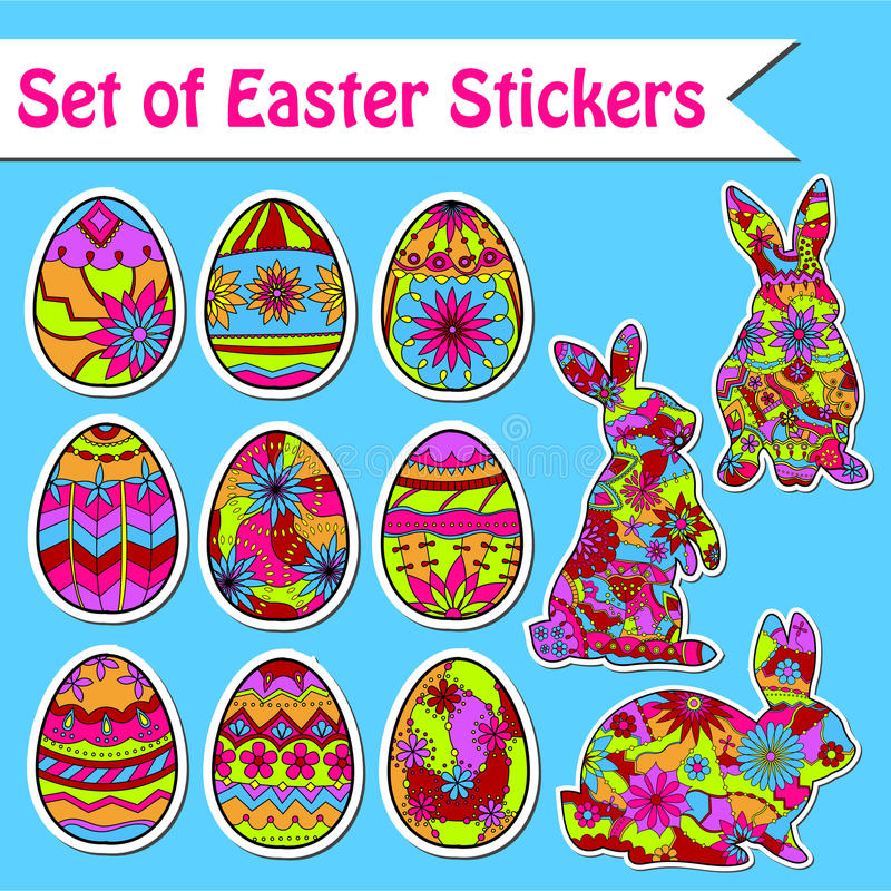 easter set etiketter vektor illustrationer