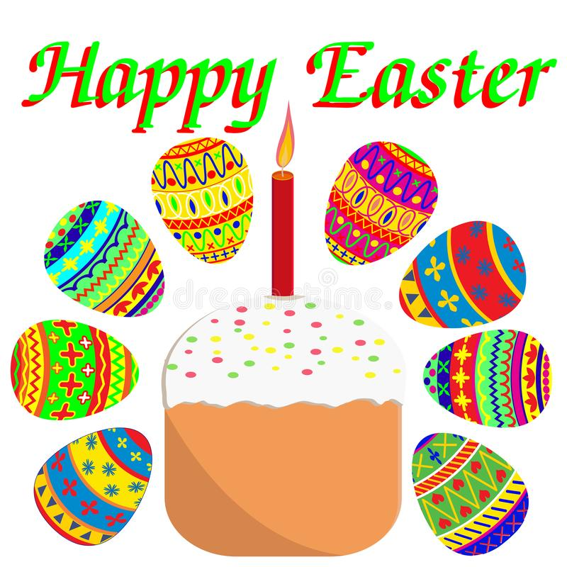 Easter set painted eggs and Easter cake with candle Suginoi vector illustration