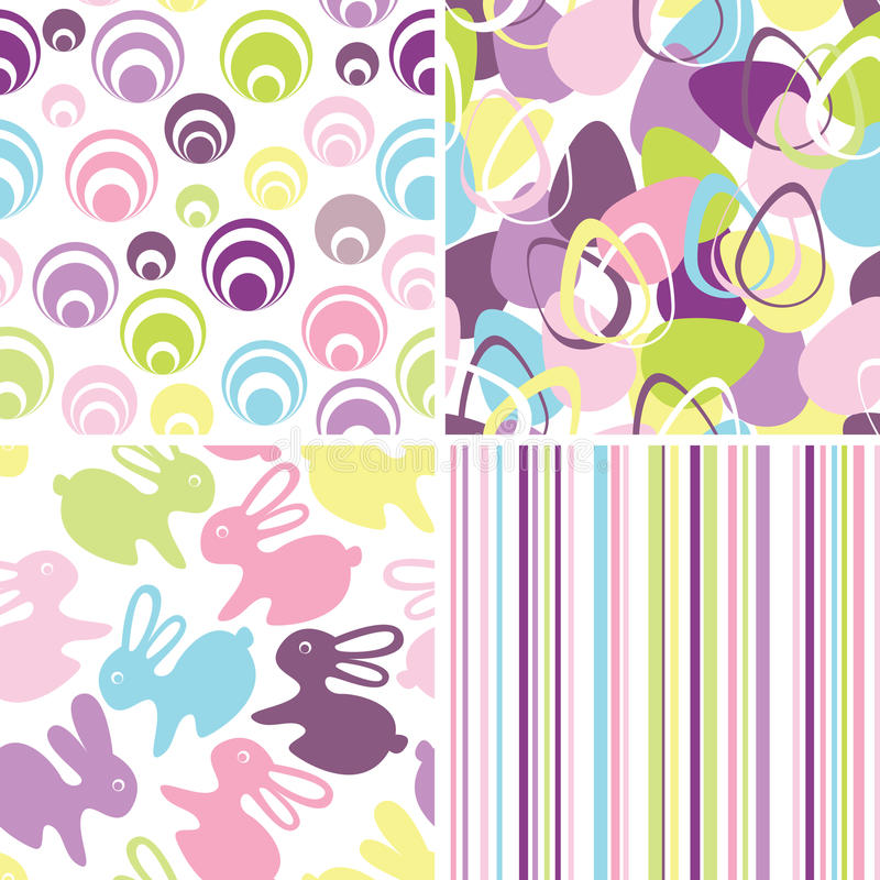 Easter set with seamless backgrounds royalty free illustration