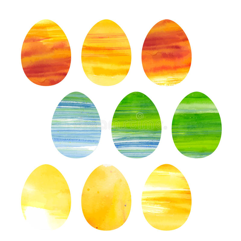 Easter set of watercolor colored eggs royalty free illustration