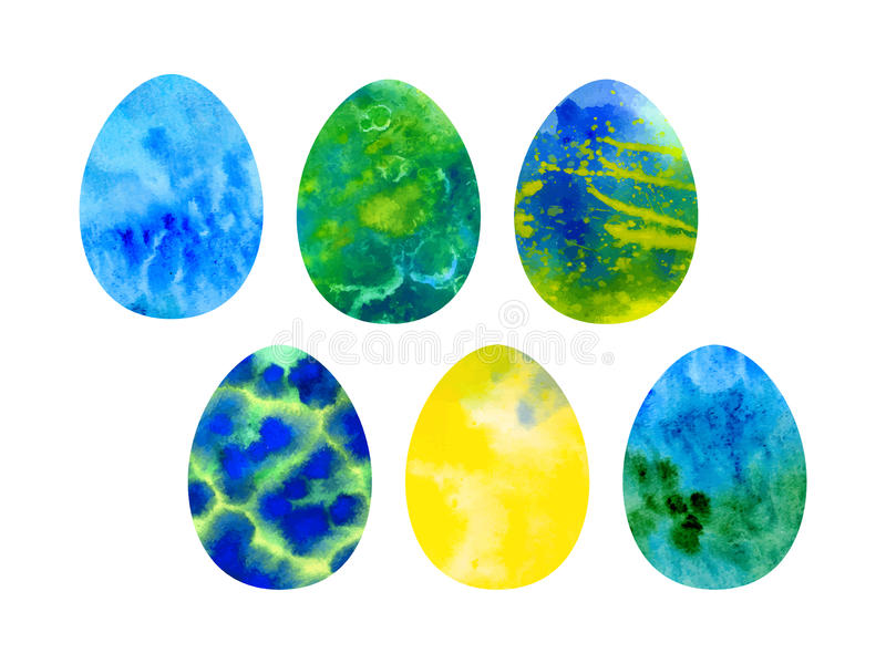 Easter set of watercolor colored eggs vector illustration