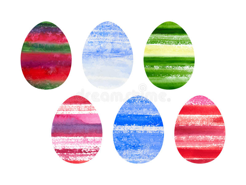 Easter set of watercolor colored eggs stock illustration